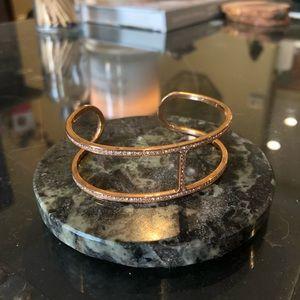 MICHAEL KORS- rose gold & crystal H cuff